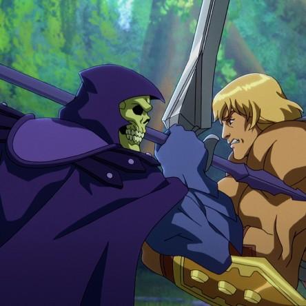 He-Man battles his enemy, Skeletor.