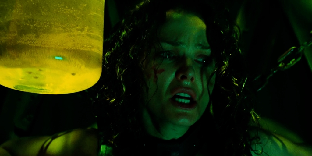 Allison Kerry is placed in the Angel Trap in Saw 3.