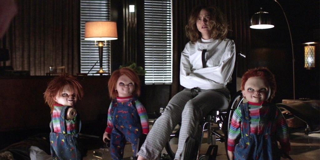 Nica is held hostage by the Chucky dolls in Cult of Chucky.